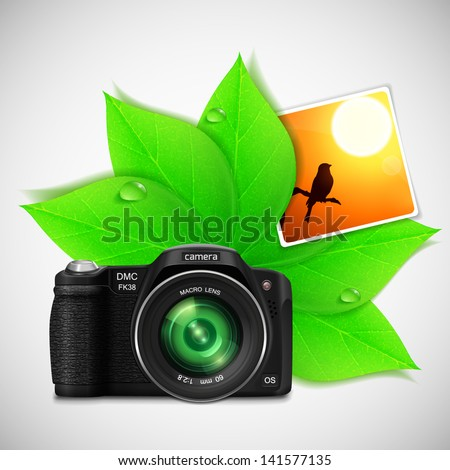 Modern photo camera with green leaves for  your summer design. Vector illustration. - stock vector