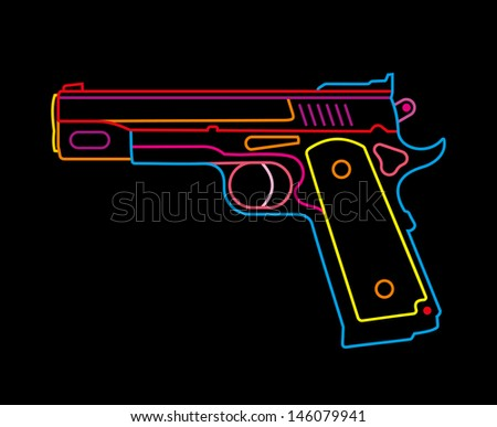 Modern Pistol - isolated vector icon on black background. Multicolor neon sign. - stock vector