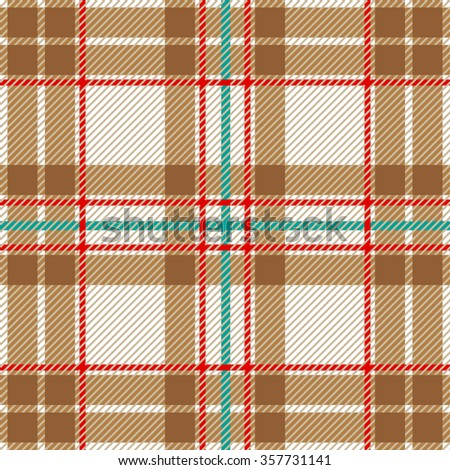 Modern plaid seamless checkered vector pattern. Retro textile collection. Beige, red and white. Backgrounds & textures shop. - stock vector