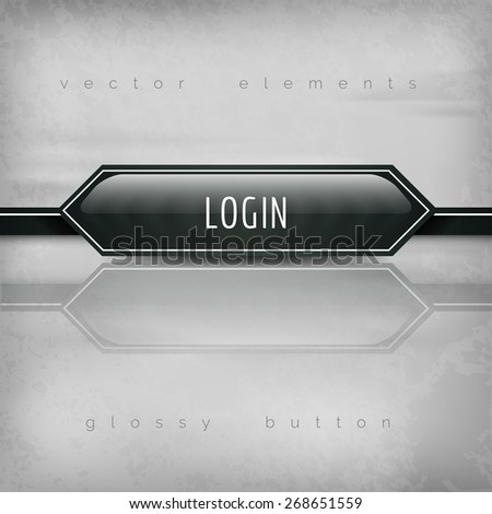 Modern plastic buttons LOGIN with sharp corners. Vector icons. - stock vector