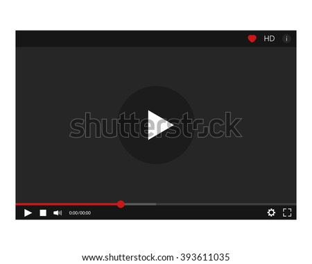 Modern player for video and music. Free space for adv. Vector illustration isolated on black background. - stock vector