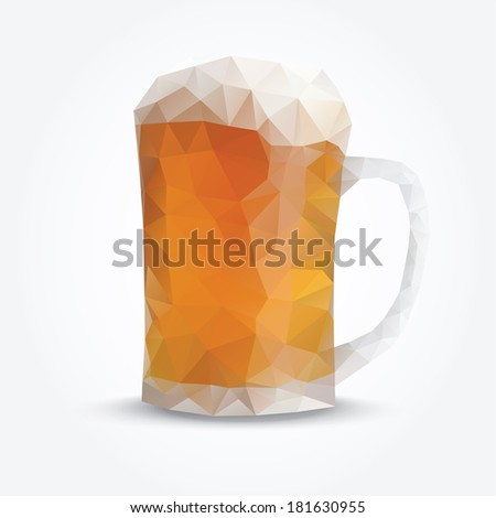 Modern polygon illustration of glass of beer, vector triangle design  - stock vector
