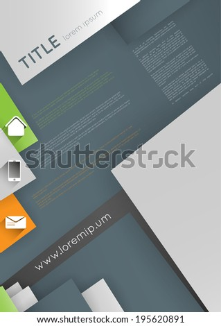 modern poster design template with icons and triangles - stock vector