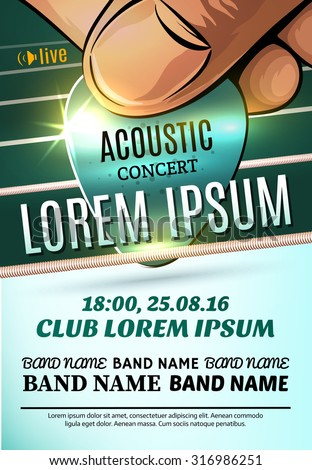 Modern poster for acoustic concert or rock festival - stock vector