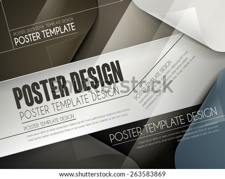 modern poster template design with curved paper background - stock vector