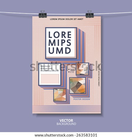 modern poster template with colorful square in flat design  - stock vector