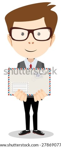 Modern postman delivered a letter to you-Young Postman brought you a letter, Stock Vector illustration. - stock vector
