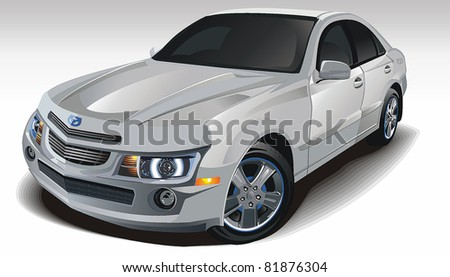 Modern powerful sports Sedan, original car design with closed roof. Automobile isolated on white background. Scalable vector illustration art.