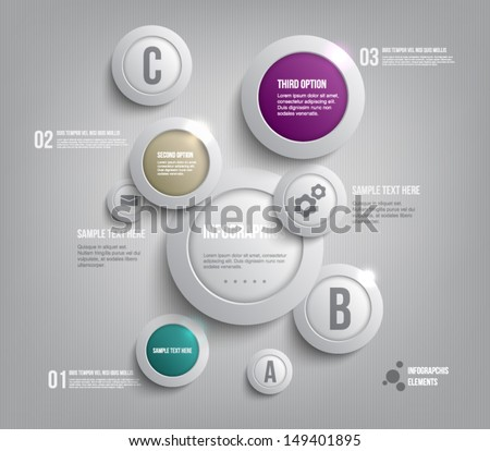 Modern presentation panel with glossy plastic buttons and shiny lights banners for business design, infographics, reports, number options, step presentation, progress or workflow layout. Clean style - stock vector