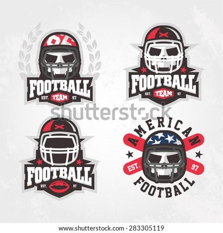 Modern professional football logo set for sport team - stock vector