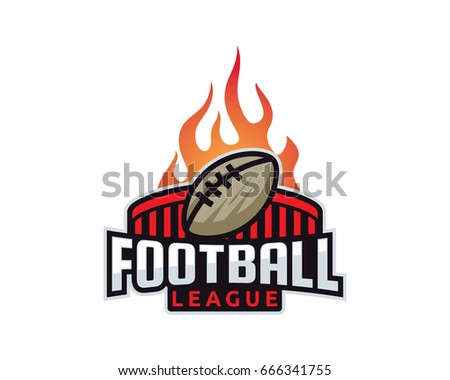 Modern Professional Isolated Sports Badge Logo - Flaming Football League