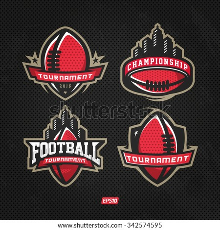 Modern professional logo set for american football game events - stock vector