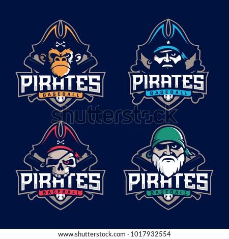 Modern Professional Set Emblem Pirates Baseball Stock Photo Photo