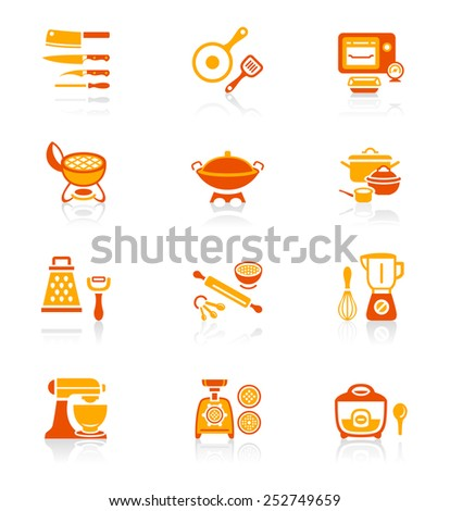 Modern professional utensils for cooking icon-set - stock vector