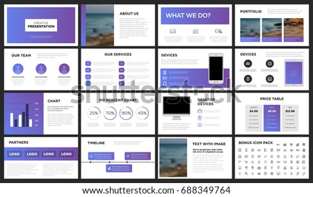 modern purple blue presentation template you stock vector, Presentation templates