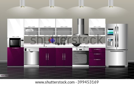 Modern purple kitchen interior. Household kitchen appliances: cabinets, shelves,gas stove, cooker hood, refrigerator, microwave, dishwasher, cookware - stock vector