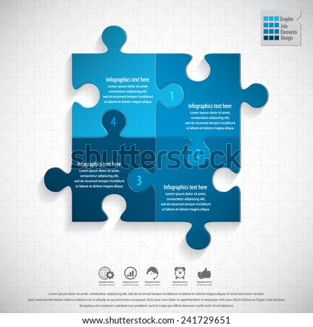 Modern puzzle infographics template on puzzle background.EPS 10 vector. - stock vector