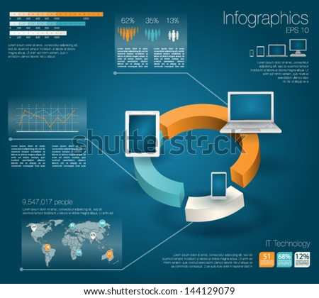 Modern realictic infographics set and icons IT tehnology. World Map and Information Graphics - stock vector