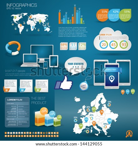 Modern realictic infographics set and icons IT tehnology. World Map and Map of Europe and Information Graphics. Easy to edit - stock vector