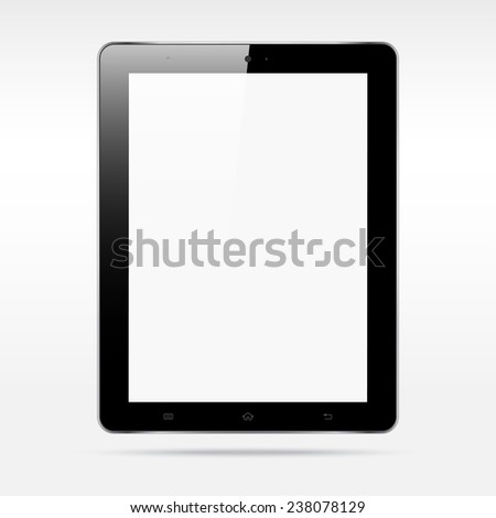 Modern realistic android touchscreen tablet computer isolated on light background. Blank vertical screen - stock vector
