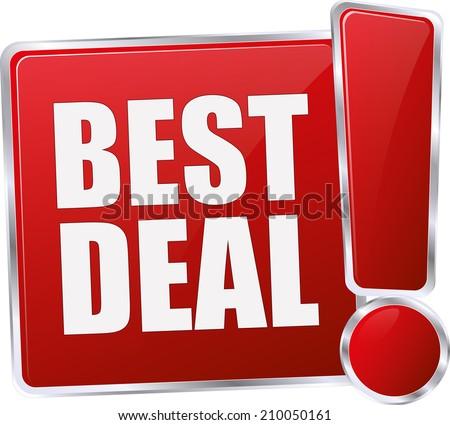modern red best deal sign - stock vector
