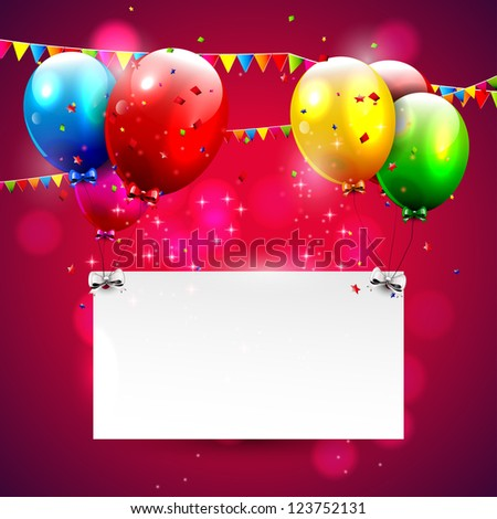 Modern red birthday background with place for text - stock vector