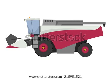 Modern red combine harvester - stock vector