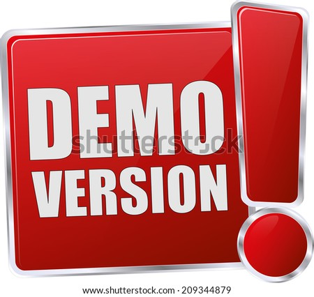 modern red demo version button - stock vector