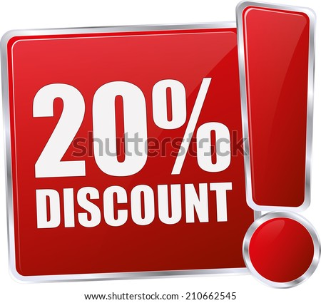 modern red 20% discount sign - stock vector