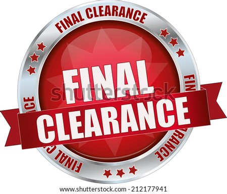 modern red final clearance sign - stock vector