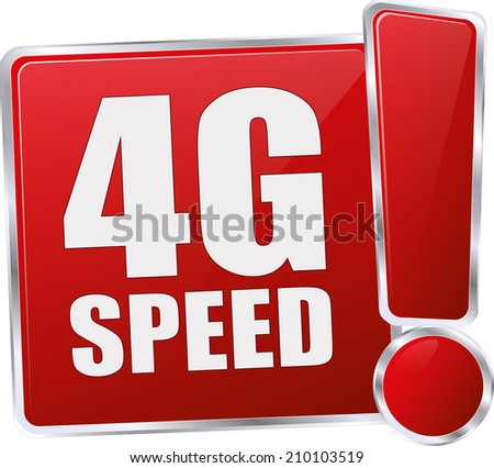 modern red 4g speed sign - stock vector