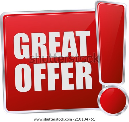 modern red great offer sign - stock vector