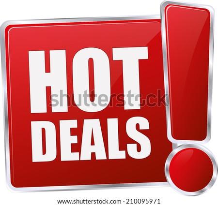 modern red hot deals sign - stock vector