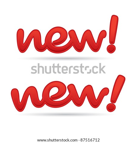 Modern red NEW! design letters, special offer concept, vector illustration - stock vector
