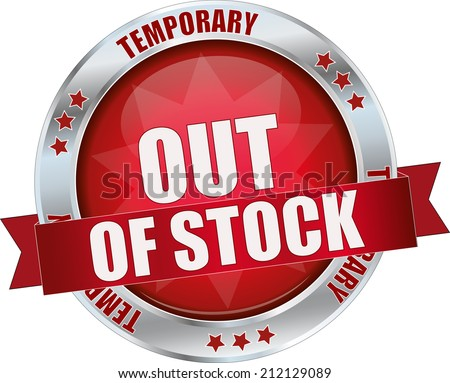 modern red out of stock sign - stock vector