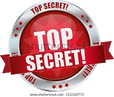 modern red top secret sign - stock vector