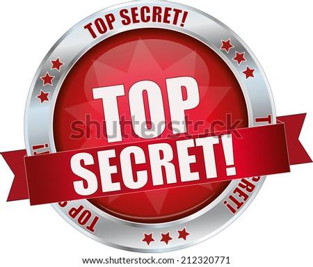 modern red top secret sign - stock vector