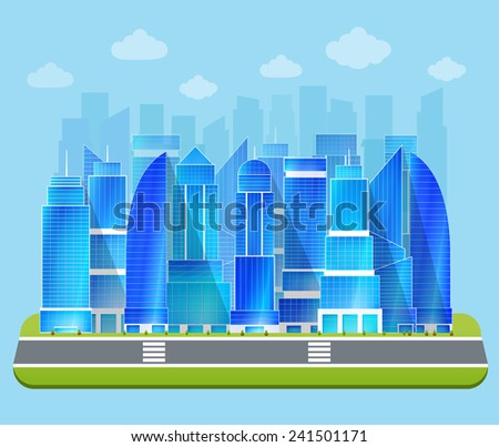 Modern residential urban business district buildings and industrial edifice cityscape architectural sketch drawing blue print vector illustration - stock vector