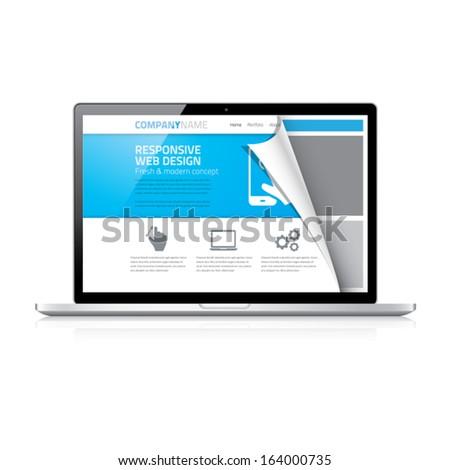 Modern responsive web design coding concept in laptop vector - stock vector