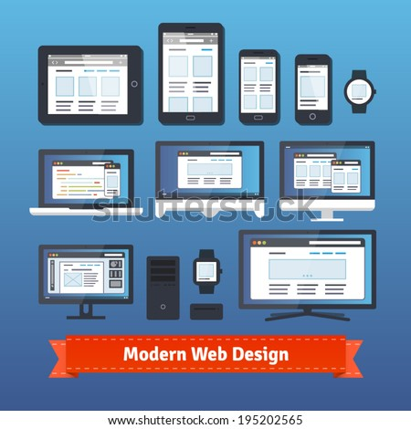 Modern responsive web design developing on all mobile and desktop devices. EPS 10 vector. - stock vector