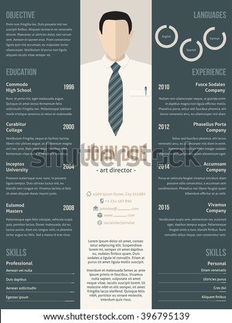 Modern resume cv curriculum vitae template design with business suit - stock vector