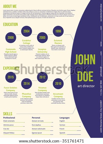 Modern resume cv curriculum vitae template design with contrast colors - stock vector