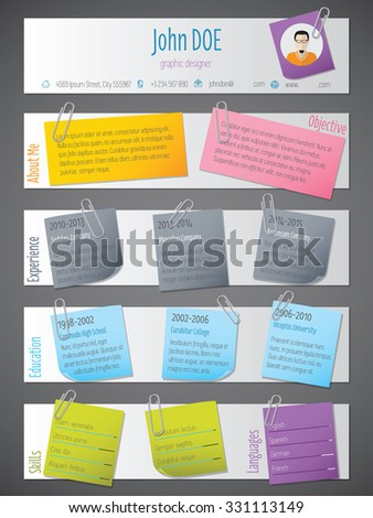 Modern resume cv curriculum vitae template design with post its and color tapes - stock vector