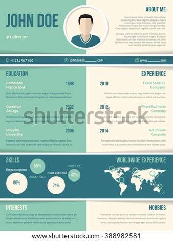 Modern resume cv curriculum vitae template with color elements - stock vector