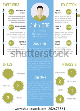 Modern resume design with green and blue colored elements - stock vector