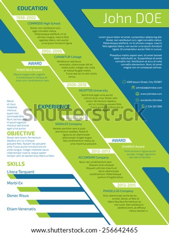 Modern resume with unusual design in green blue and white colors - stock vector