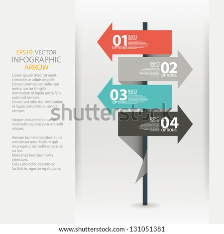 Modern road sign arrow design template. Used for infographics, sign banners, horizontal cutout lines, graphic or website layout vector - stock vector