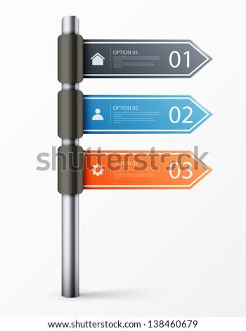 Modern road sign design template for infographics, sign banners, graphic or website layout. eps10 vector illustration - stock vector
