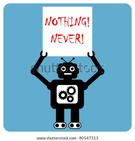 Modern robot protests demonstration - stock vector