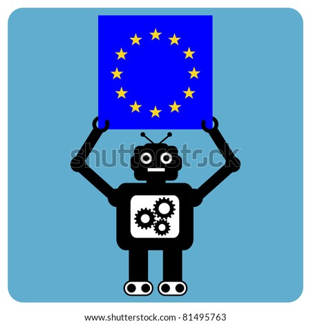 Modern robot with car flag of europe - stock vector